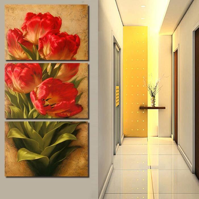 3 pc peinture murale fleurs rouges couloir art déco photo de salon chambre  moderne sans toile pour peinture