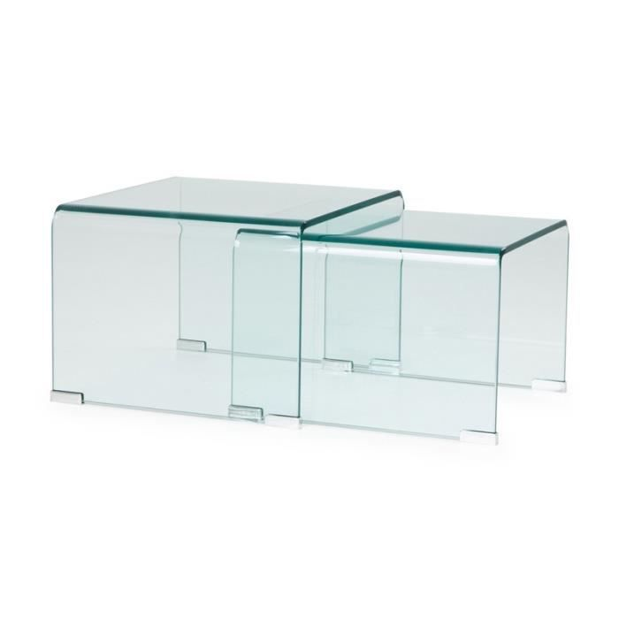 tables gigognes en verre clear l 49 x l 45 x h 33 cm. Black Bedroom Furniture Sets. Home Design Ideas