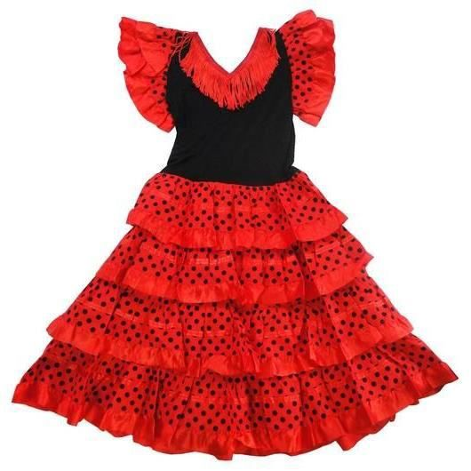 robe de FLAMENCO femme traditionnelle ROSE à POIS NOIRS en 18 ans