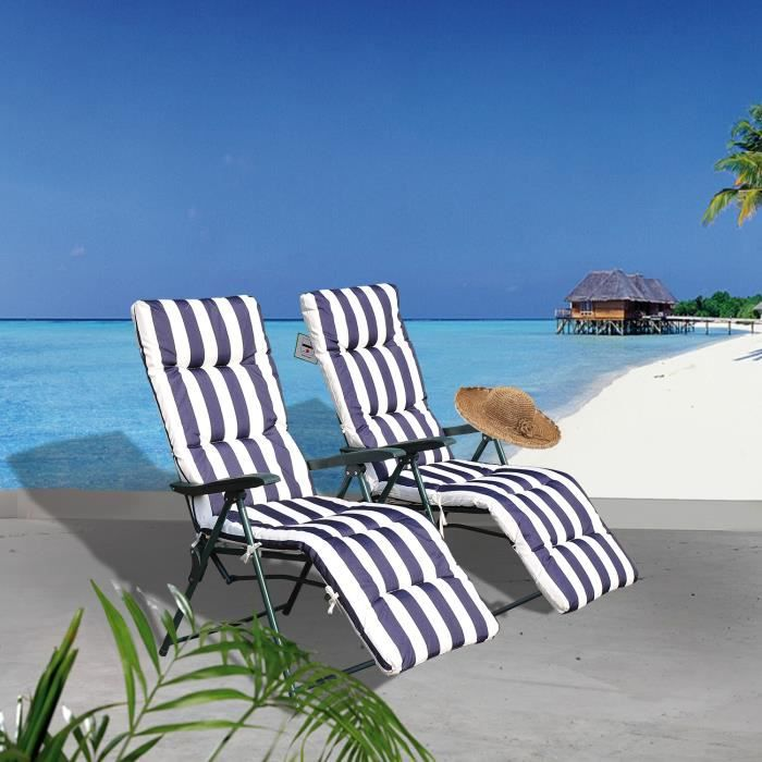 lot de 2 transat bain de soleil multiposition achat vente chaise longue lot de 2 transat. Black Bedroom Furniture Sets. Home Design Ideas