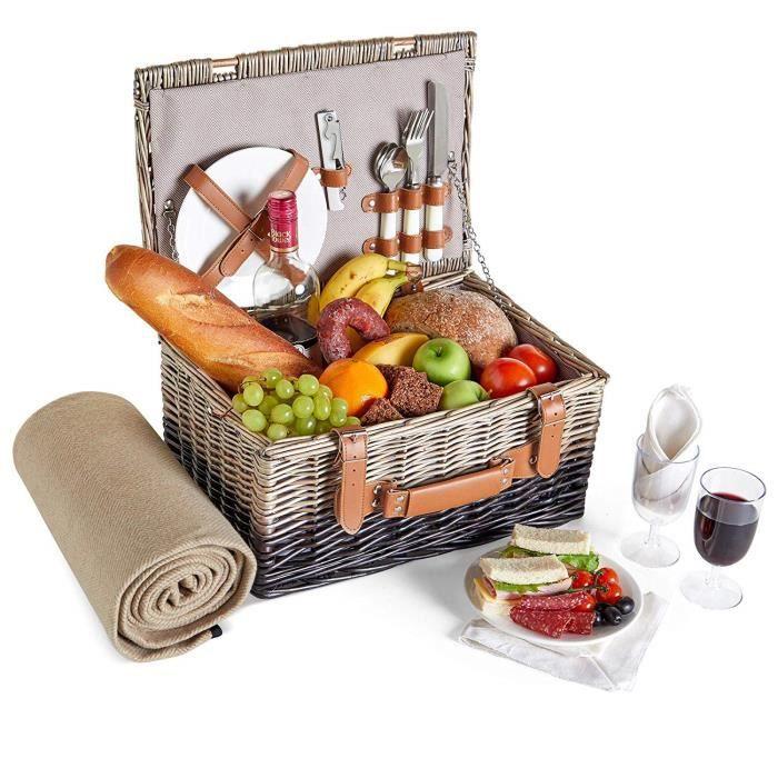 Panier de pique-nique max 4 pers sac congélation camping kit couvert casa.pro