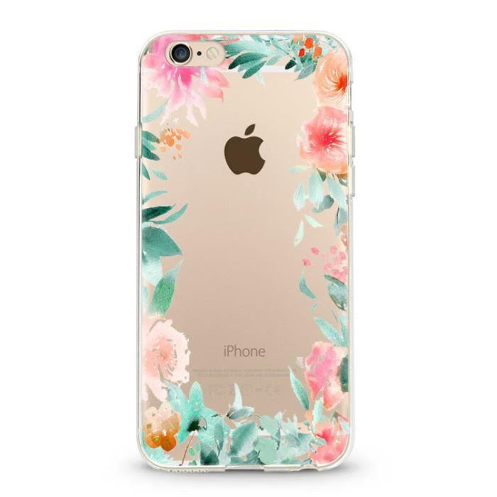 coque iphone 6 plus fleur 15 pastel tropical rose