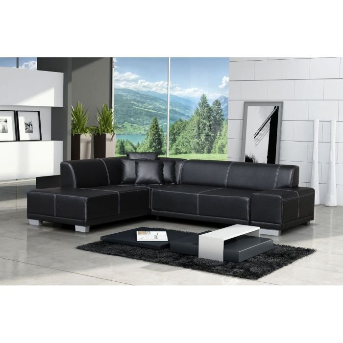 canap d 39 angle moderne william noir angle ga achat vente canap sofa divan bois. Black Bedroom Furniture Sets. Home Design Ideas