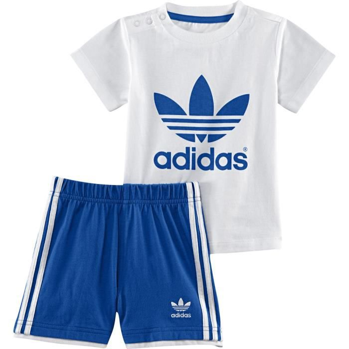 ensemble t shirt short adidas blanc blanc achat vente ensemble tenue de sport cdiscount. Black Bedroom Furniture Sets. Home Design Ideas