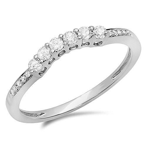 Bague Femme Diamants 0.25 ct14 ct 585-1000 Or Blanc Rond Diamants Bague Éternité 1-4 ct