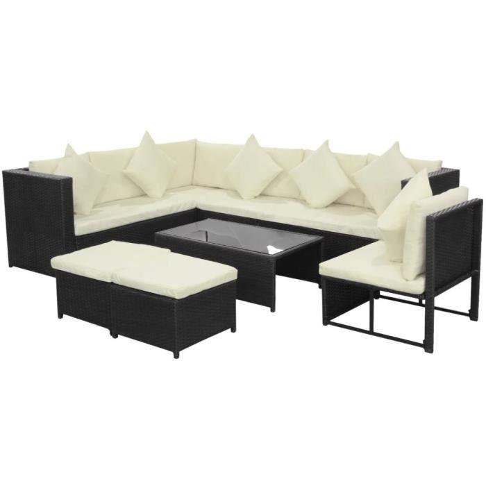 Ensemble table et chaise de jardin Jeu de canapé de jardin 29 pcs Noir Résine tressée