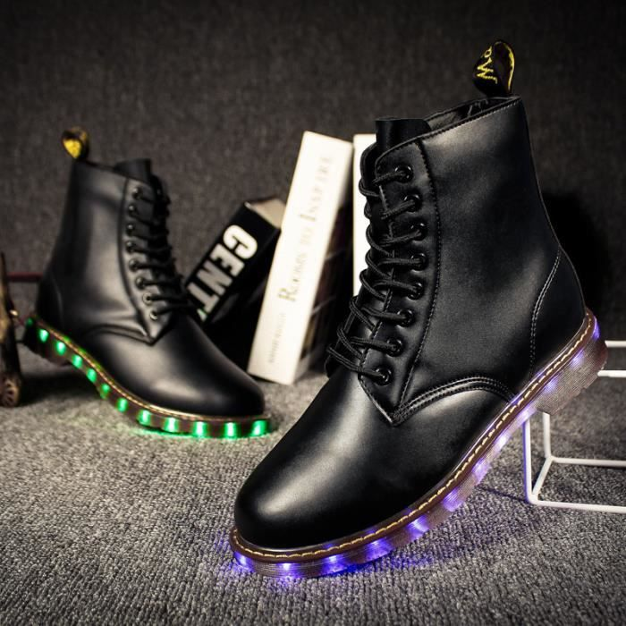 Cuir des bottes martin charge USB charge LED l...