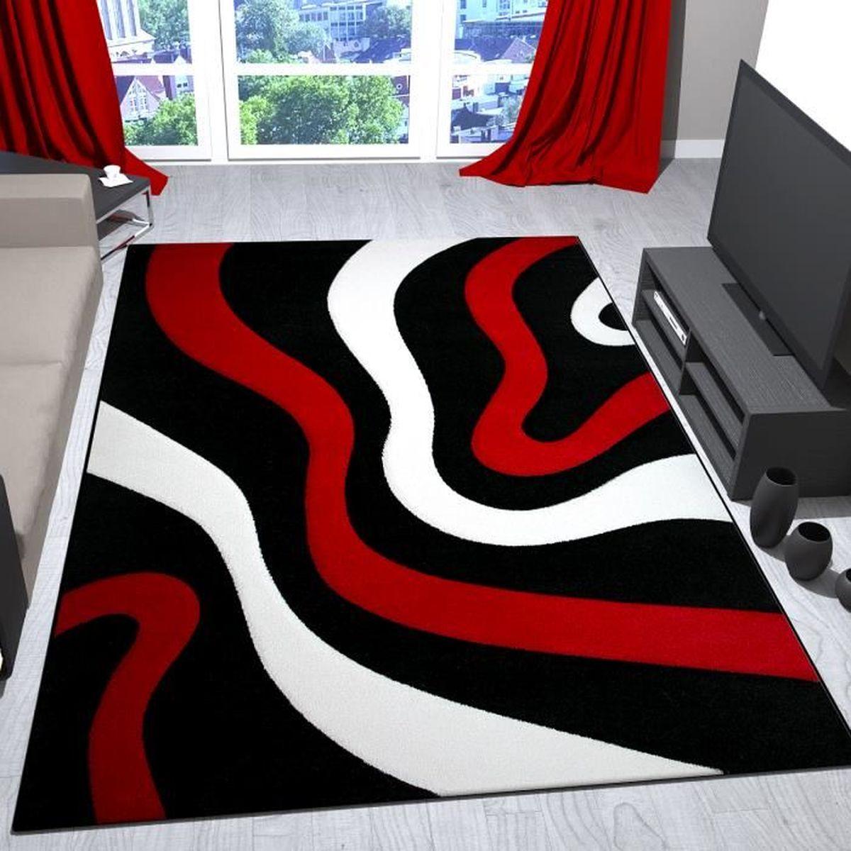 Salon Rouge Blanc Noir tapis de salon rouge, noir et blanc avec vagues design - vimoda, 80x150 cm
