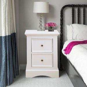 CHEVET Table de chevet blanche - Table de nuit avec 2 tir