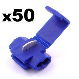 Cosse Electrique Male Plate 6.3 mm Bleue-Lot de 50 Cosses Electriques LIVRAISON GRATUITE! Pour fils jusqu/à 1.1mm to 2.6mm/²