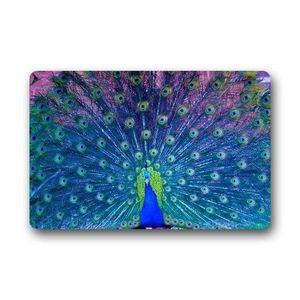 TAPIS DE COULOIR 801918-Multicolor Pretty Peacock Blue Rug Bath Doo