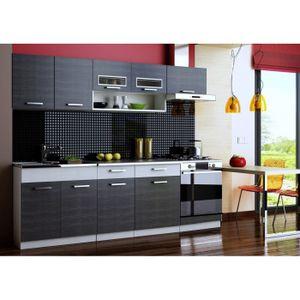 CUISINE COMPLÈTE Cuisine TOPAZE noir chiné/gris, 7 meubles, 2m40.