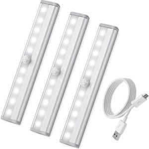 LAMPE A POSER 10LED Lampe Détecteur de Mouvement [3 Pack], USB R