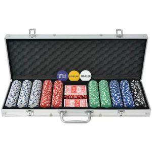 MALETTE POKER Jeu de poker avec 500 jetons Aluminium