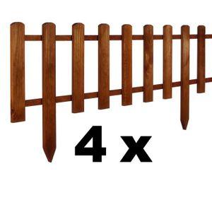 BORDURE Floranica® 4 x Clôture, bordure en bois - en 3 cou