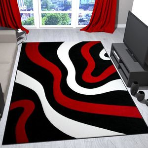 tapis salon rouge et noir achat vente tapis salon rouge et noir pas cher cdiscount. Black Bedroom Furniture Sets. Home Design Ideas