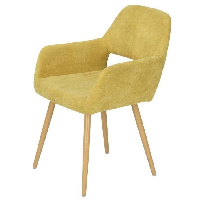 Revêtement de imprimé jaune Chaise à manger L métal Style 56 salle bois x cm en tissu 56 CROMWELL scandinave P nOmNwyv80