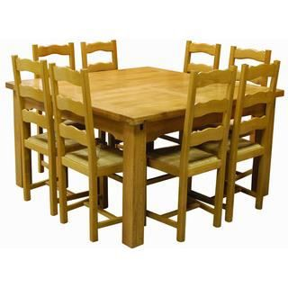 Table carr e ch ne sully 8 chaises achat vente table for Table carree 8 personnes avec rallonge