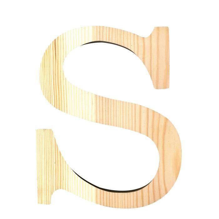 ARTEMIO Lettre S en Bois Découpé 19 cm