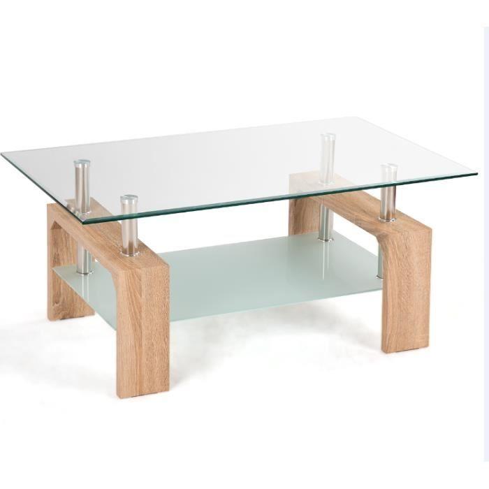 Table Basse avec 2 Etagère Espace de Rangement,Table d'Appoint avec Verre Trempé Transparent Plateau,pour Bureau,Salon