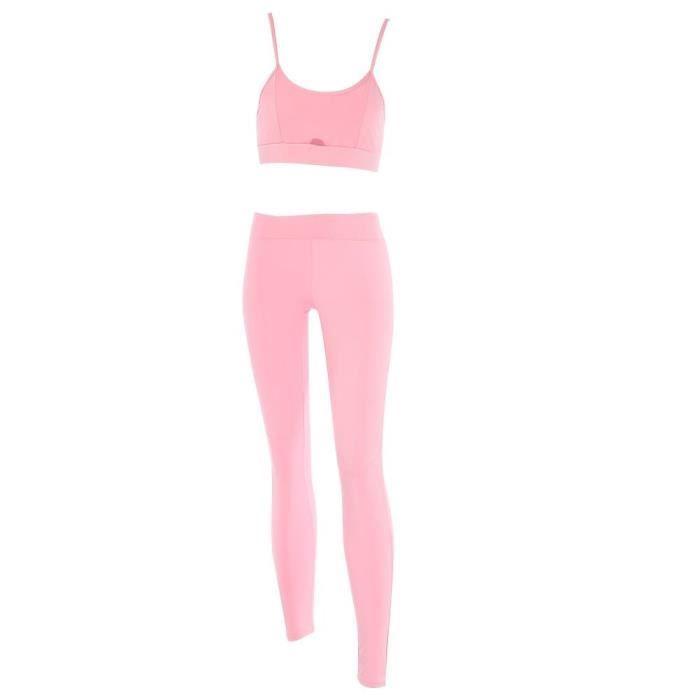 Banc de musculation Soutien-gorge de sport pour femmes Leggings Set Yoga Wear Fitness Workout Suit (Pink S)