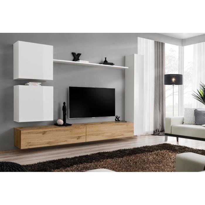 Ensemble meuble salon mural SWITCH VIII. Meuble TV mural design, coloris chêne Wotan et blanc brillant.