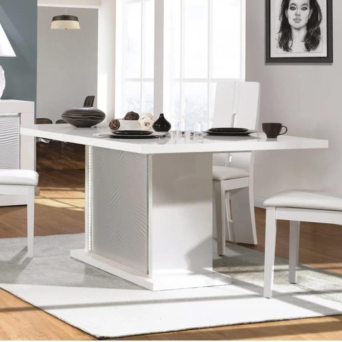 Table à manger extensible blanche laquée design KARL Blanc L 225 x P 100 x H 76 cm