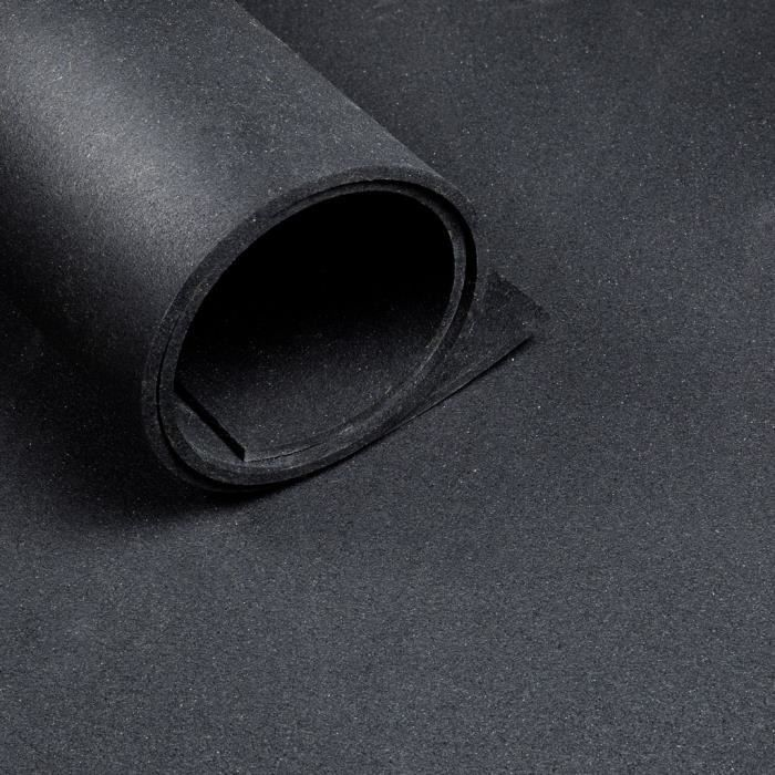Sol pour salle de sport - Au mètre linéaire - Largeur 1,25 m - Epaisseur 10 mm - Noir