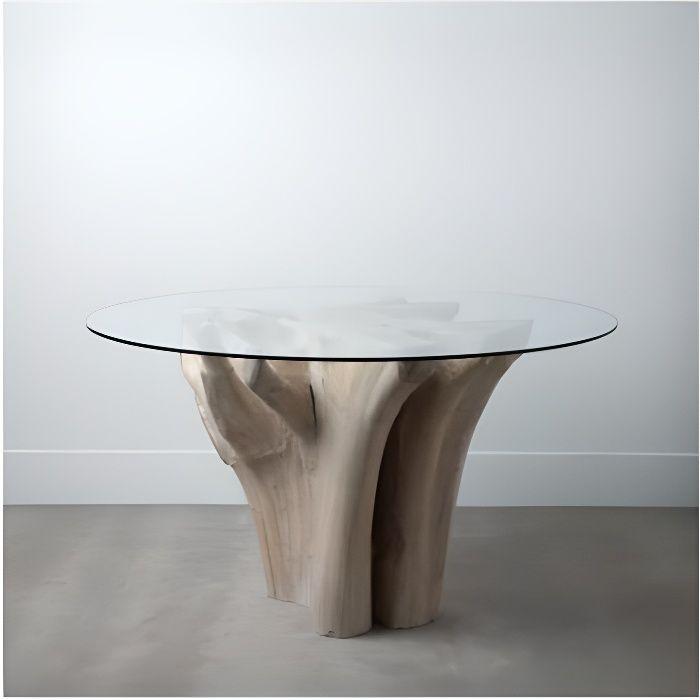 Table à manger bois racine et plateau verre