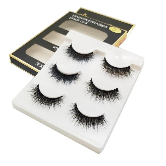Maquillage,Faux cils naturels en soie,3 paires en vrac,outils de maquillage coréen,vente en gros - Type 3D-41
