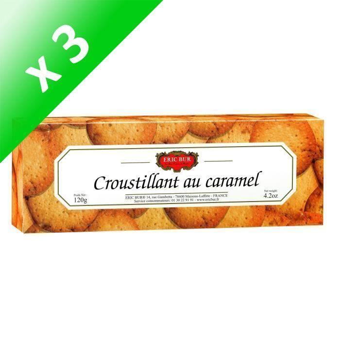 [LOT DE 3] ERIC BUR Biscuit Sucré Croustillant au Caramel - 120 g