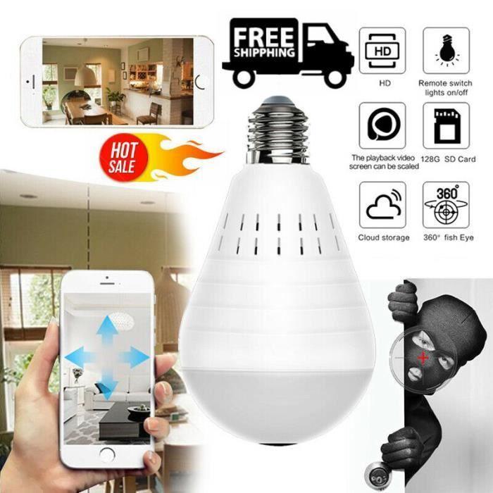 Moniteur pour bébé Lampe Ampoule caméra IP caméra IP sans Fil Ampoule Panoramique LED caméra Espion IR caméra cachée 360 degrés
