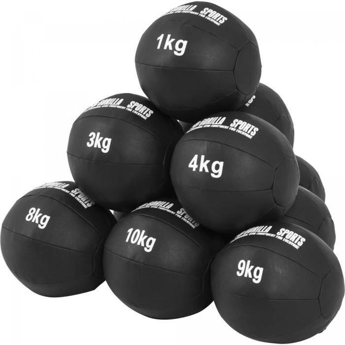 Lot de 10 Médecine Balls en Cuir Synthétique - De 1 à 10 KG (55 KG)