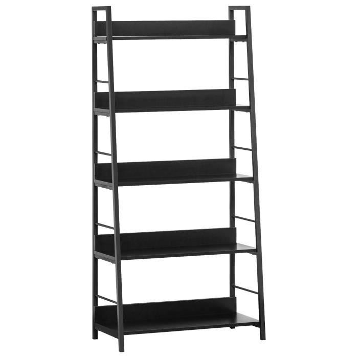 Étagère bibliothèque design contemporain 5 niveaux 70 x 35 x 150 cm acier bois noir 11