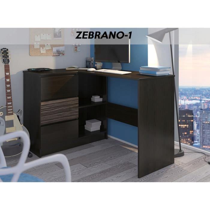 KIAN W - Bureau d'angle avec rangements + 3 tiroirs - 112x87x76 cm - Table d'ordinateur forme de L - Wengé Zebrano
