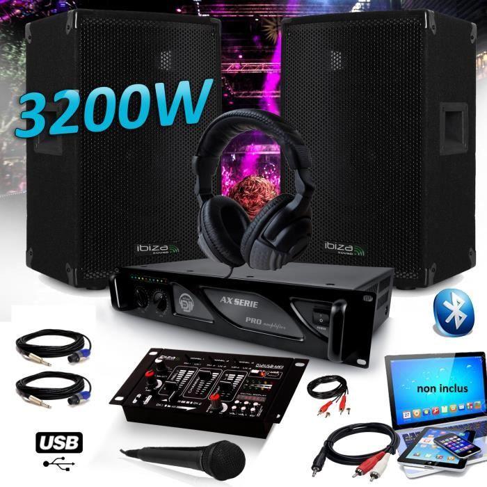Pack DJ SONO SET 3200W Enceintes IBIZA DISCO12 + Amplificateur MyDj 2000W + Table de Mixage DJ21 USB Bluetooth + CASQUE MICRO