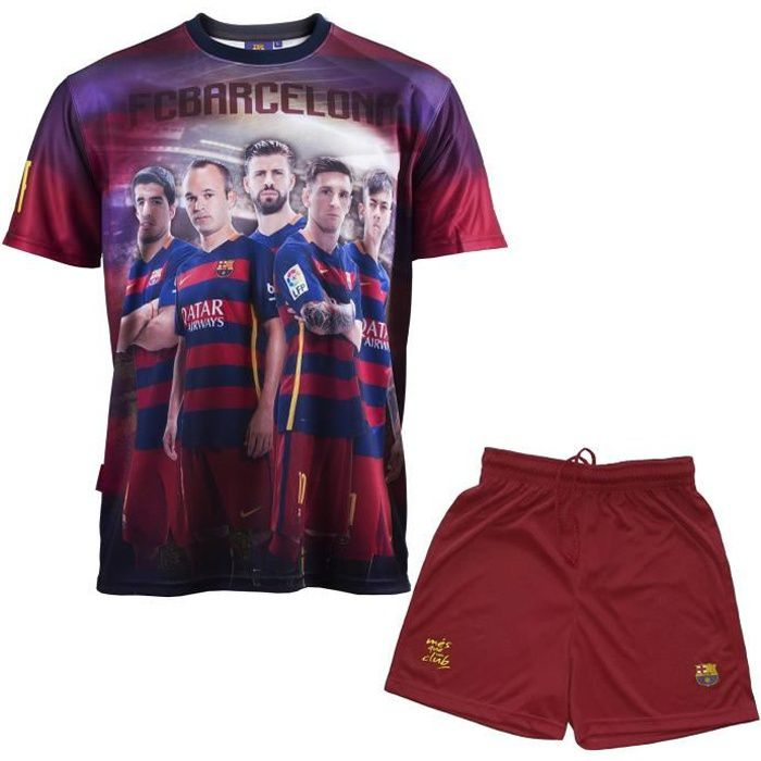 Ensemble Maillot + short Barça - Messi Suarez Neymar Piqué Iniesta - Collection officielle FC BARCELONE