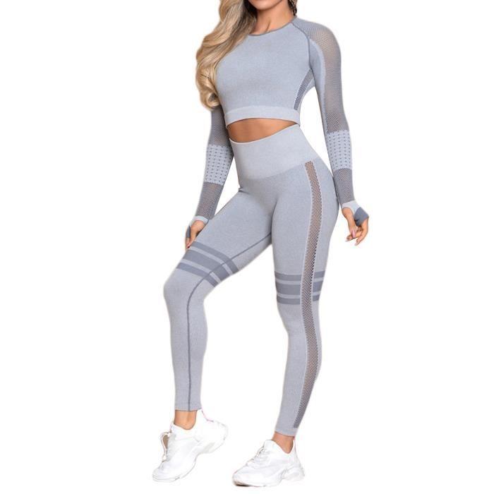 Ensemble de Sport Femme 2 Pièces Vêtements de Fitness Bleu clair S