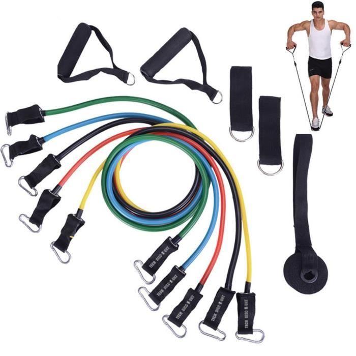 TD® VERSION SOLIDE GARANTIE DE 2 AN set bande élastique fitness à la maison homme femme musculation 11 sport de résistance traction