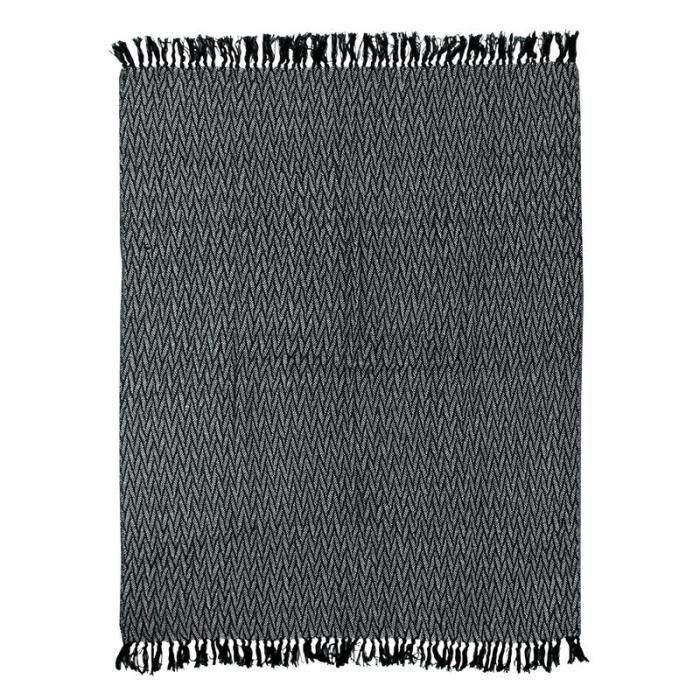 ESCAPADE - Plaid ethnique motif chevrons blanc et noir 125x150
