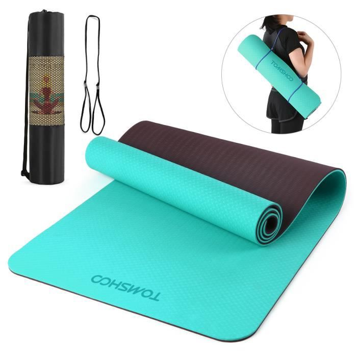 TOMSHOO 72.05 × 24.01in Portable Double Dual-colour Yoga Mat Thicken Sports Mat Tapis d'exercice antidérapant pour les entraînem-664