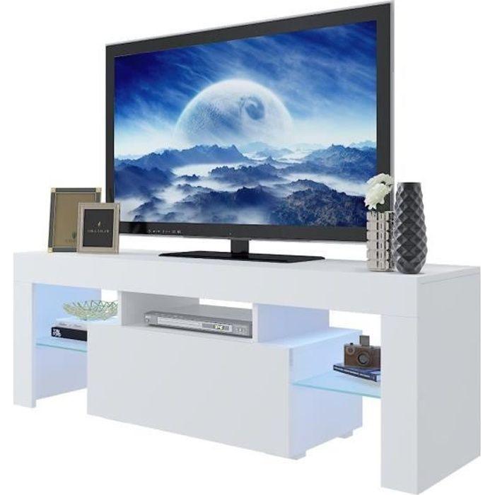 Tresice France Meuble TV Blanc Brillant OREA led bleu