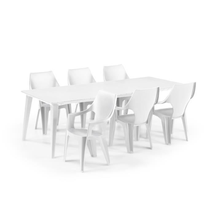 Salon de jardin: Table 160/240 cm blanche + 6 Fauteuils blanc ALLIBERT