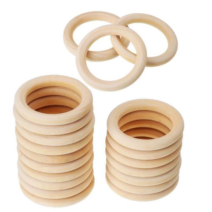 5pcs À faire soi-même 70 mm Bébé En Bois Anneaux de dentition Collier Bracelet Artisanat Naturel