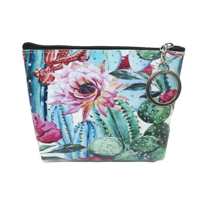 TEELONG Sac porte-monnaie pour femme et fille Petit sac dembrayage porte-cl/é Motif fleurs