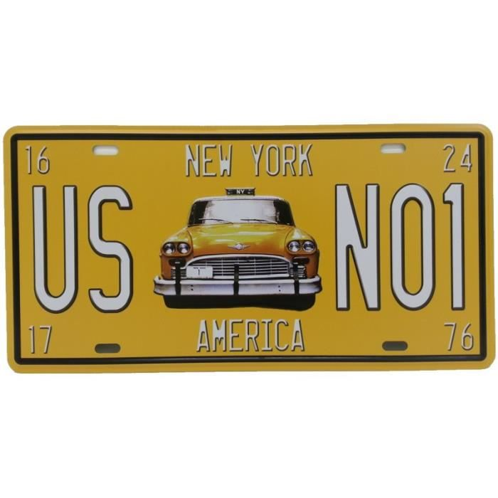 Plaque m tallique new york us n01 america achat vente for Decoration murale metallique