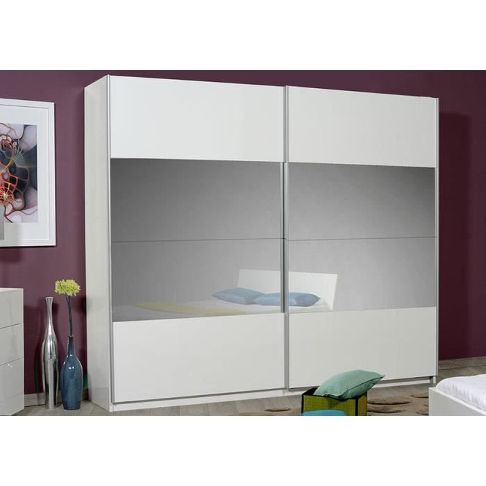 armoire blanche laqu e avec miroir prime achat vente. Black Bedroom Furniture Sets. Home Design Ideas