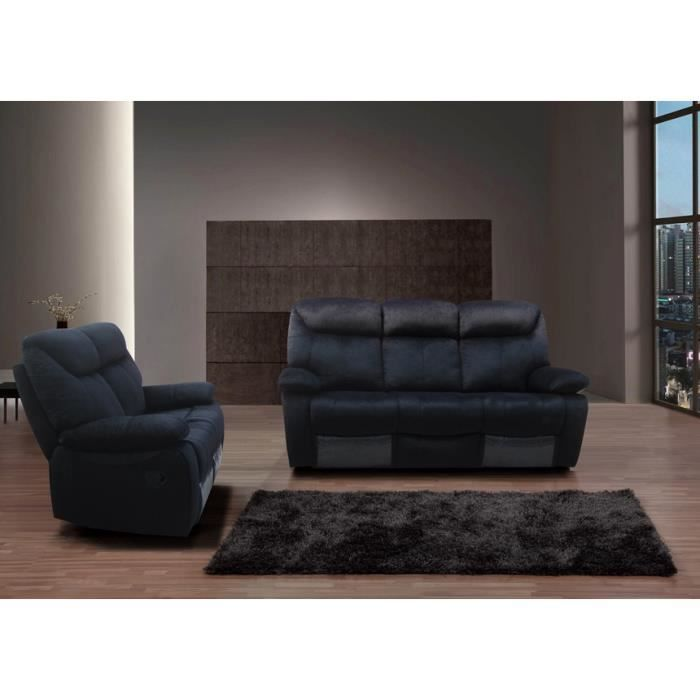 Canap s relaxation noir microfibre 3 2 ornella achat vente canap sofa - Canape relax microfibre ...