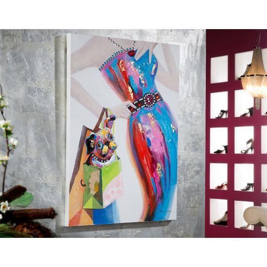 Tableau peinture toile relief FEMME GAUDI 100x70 - Achat / Vente tableau - toile Toile ...