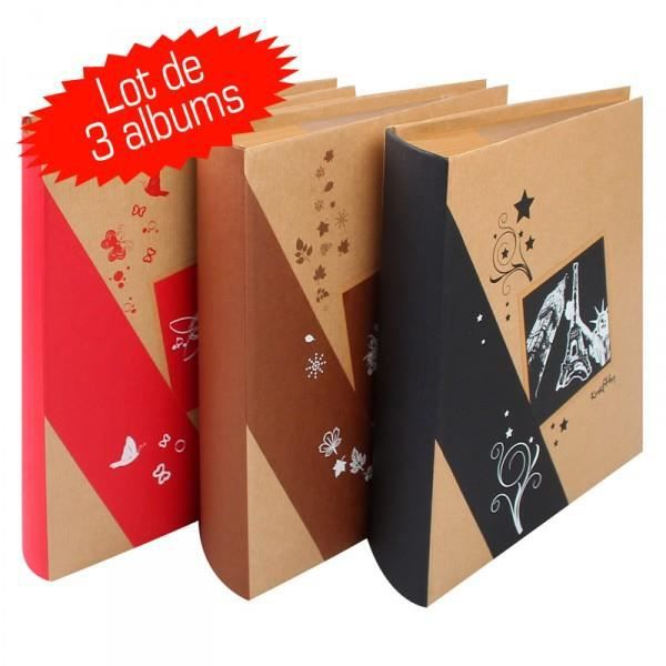 lot de 3 albums photos erica kraftty pochettes 1 achat. Black Bedroom Furniture Sets. Home Design Ideas